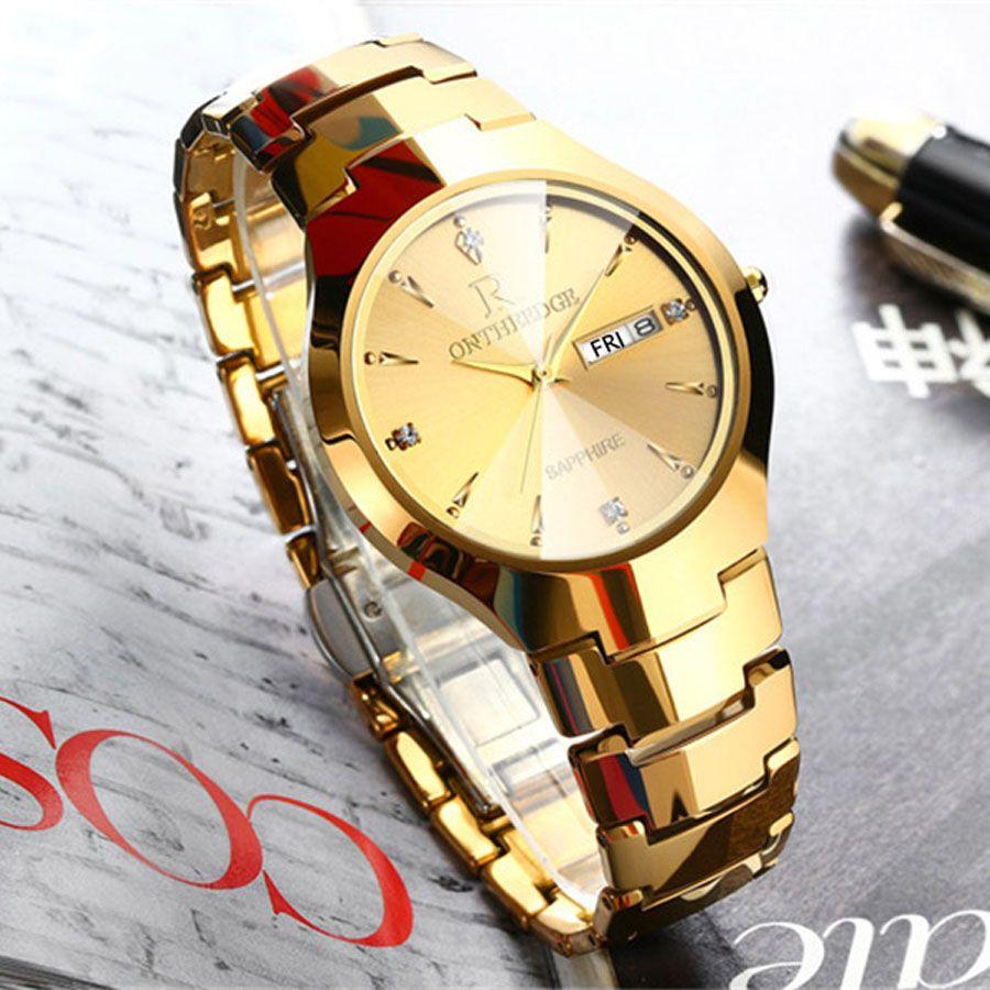 Mens Watches Top Brand Luxury Gold Tungsten Steel Men ultra thin Wristwatch Auto Date Quartz Watch relogio masculino New