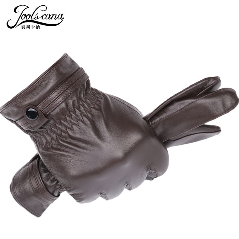 JOOLSCANA leder handschuhe für männer winter herbst mode Sensorischen handschuhe aus Italienischen importiert natürliche lammfell schaffell handgelenk