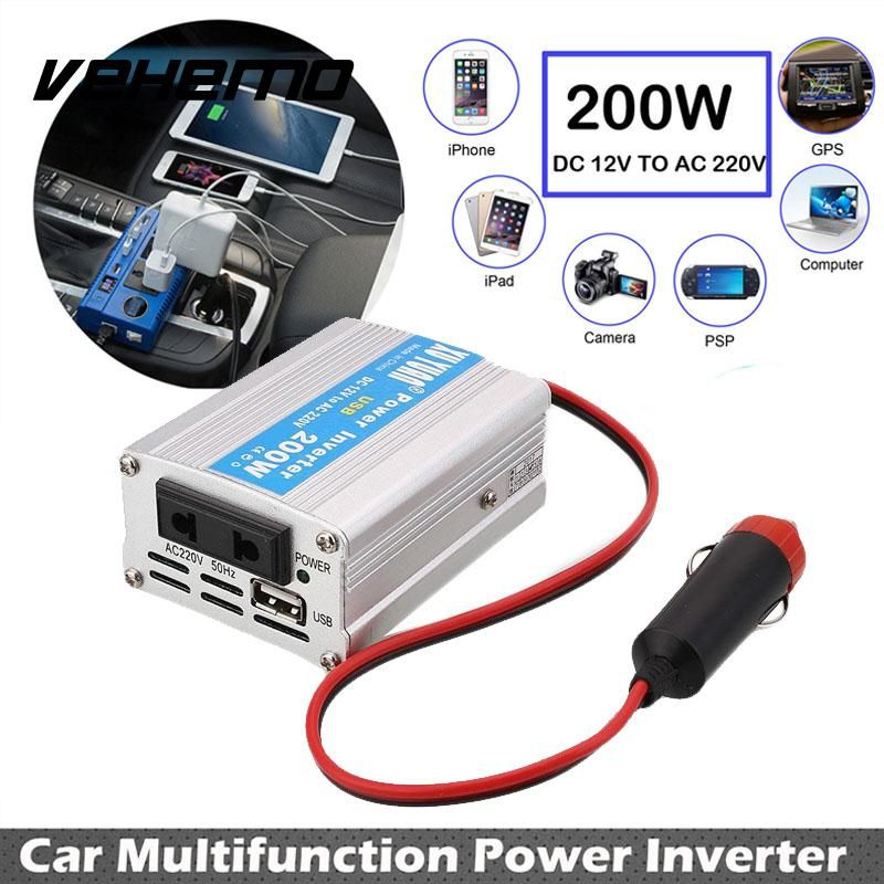 Vehemo 200W Car Power Inverter USB Converter DC 12V To AC 220V Overload Protect Compact