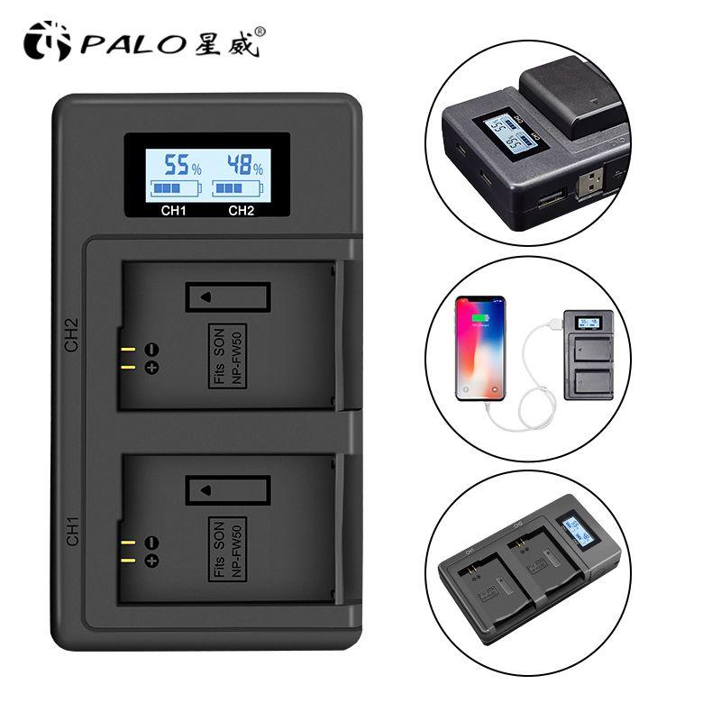 PALO NP-FW50 NP FW50 LCD USB Dual Ladegerät für Sony Alpha a6500 a6300 a7 7R a7R a7R II a7II NEX-3 NEX-3N NEX-5