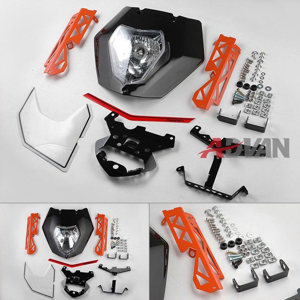 Black Headlight Mask Lights Assembly Decals Cover For KTM 125 200 390 Duke