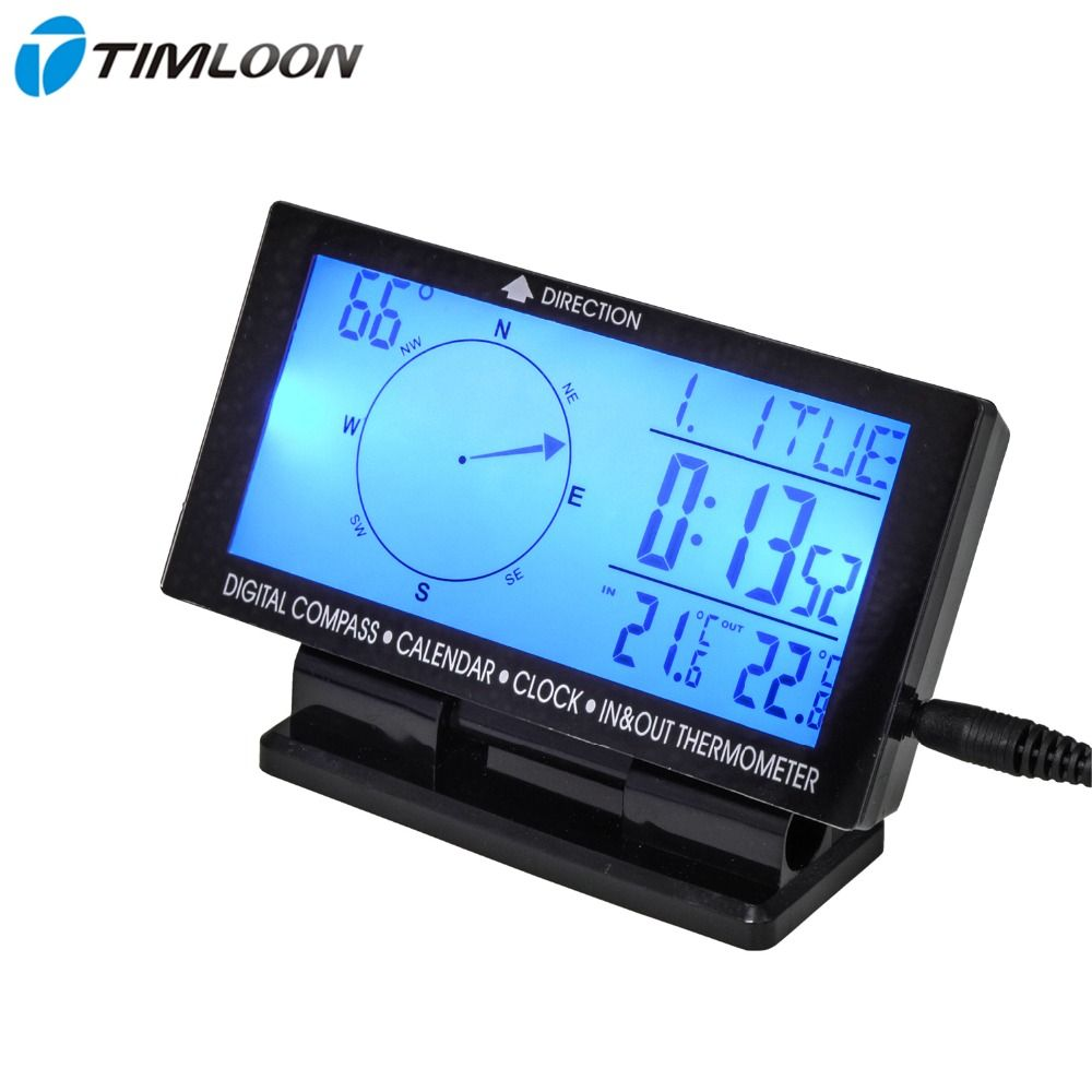 4.6 LCD Display Screen Car Digital Compass,Calendar,Clock,In & Out Thermometer With Blue Backlight