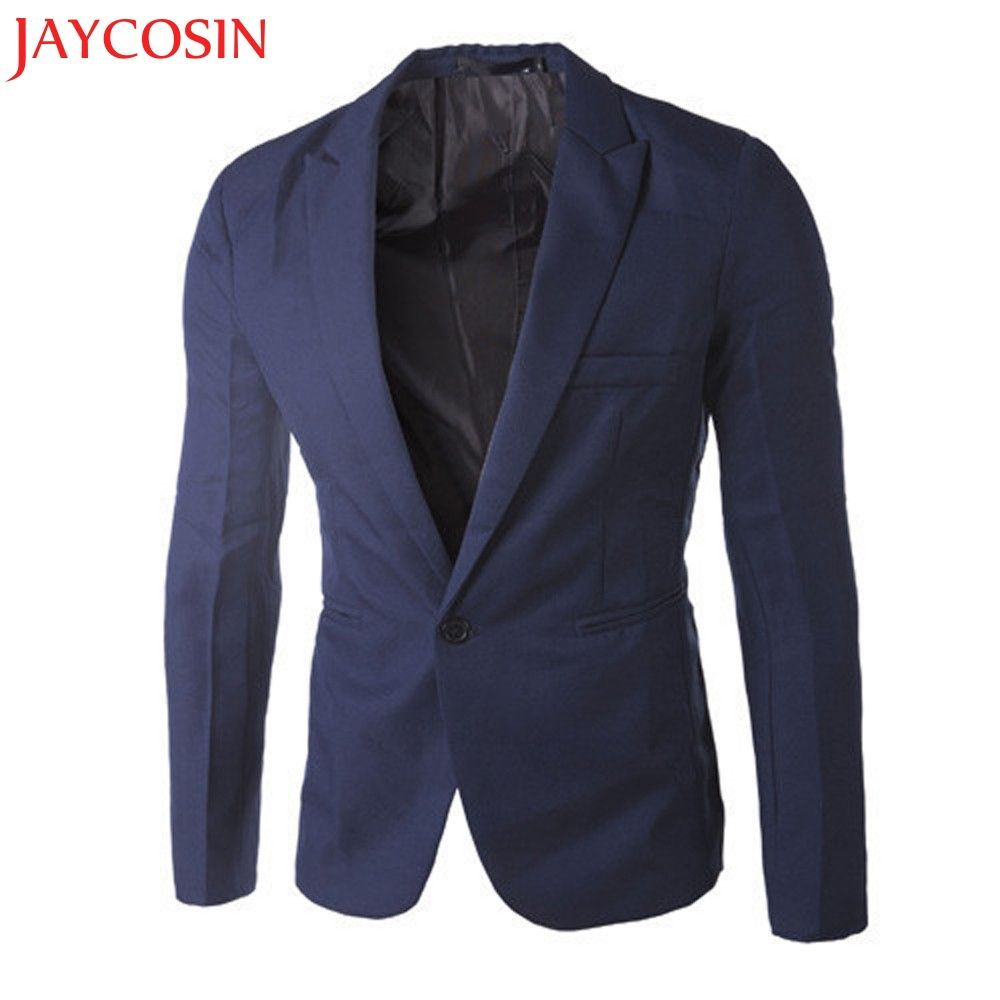 Hot 2017 New Stylish Charm Men's Casual Slim Fit One Button Suit Blazer Coat Jacket Tops Men Fashion Drop Shipping 825