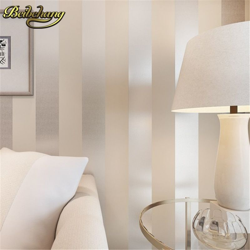 beibehang non-woven papel de parede 3D flocking simple striped wallpaper bedroom living room sofa backgroumd for wall paper roll