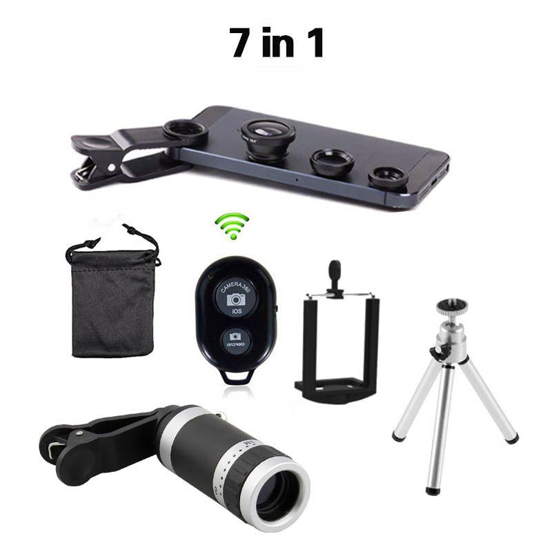 2016 Nouveau 7in1 8x Zoom Caméra Téléobjectif Télescope Lentille Universal Mobile Téléphone Titulaire 3in1 Lentille Fisheye Lentilles Bluetooth D'obturation