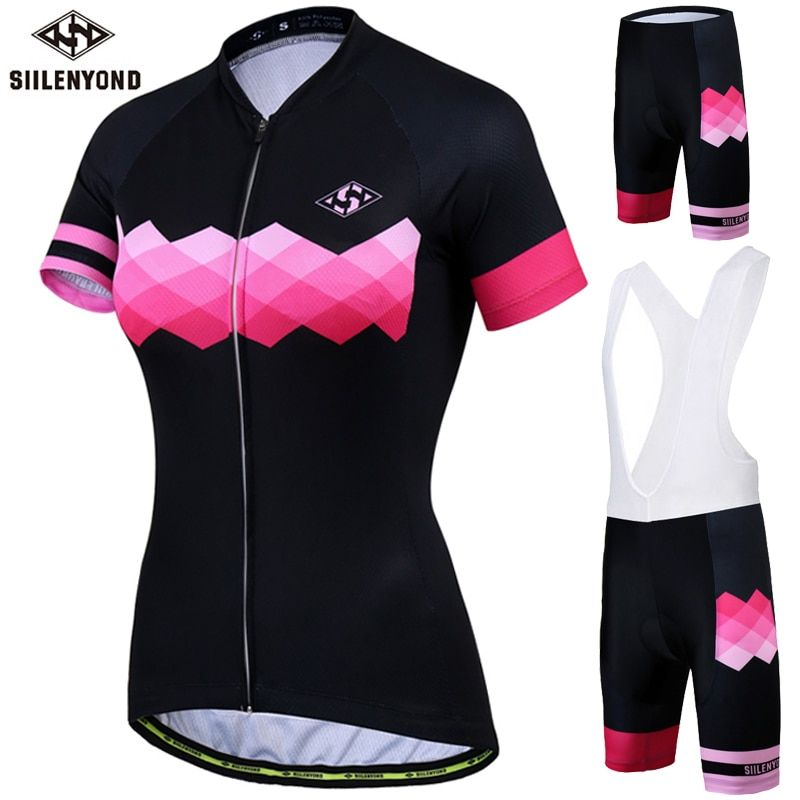 Siilenyond Women's Cycling Jersey Set Summer Anti-UV Cycling Bicycle Clothing Quick-Dry Mountain Bike Clothes Cycling Set