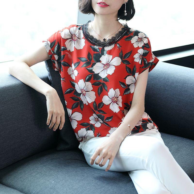 Silk, short sleeved T-shirt, mulberry silk, summer round neck T-shirt, loose print, slim, ladies' coat.