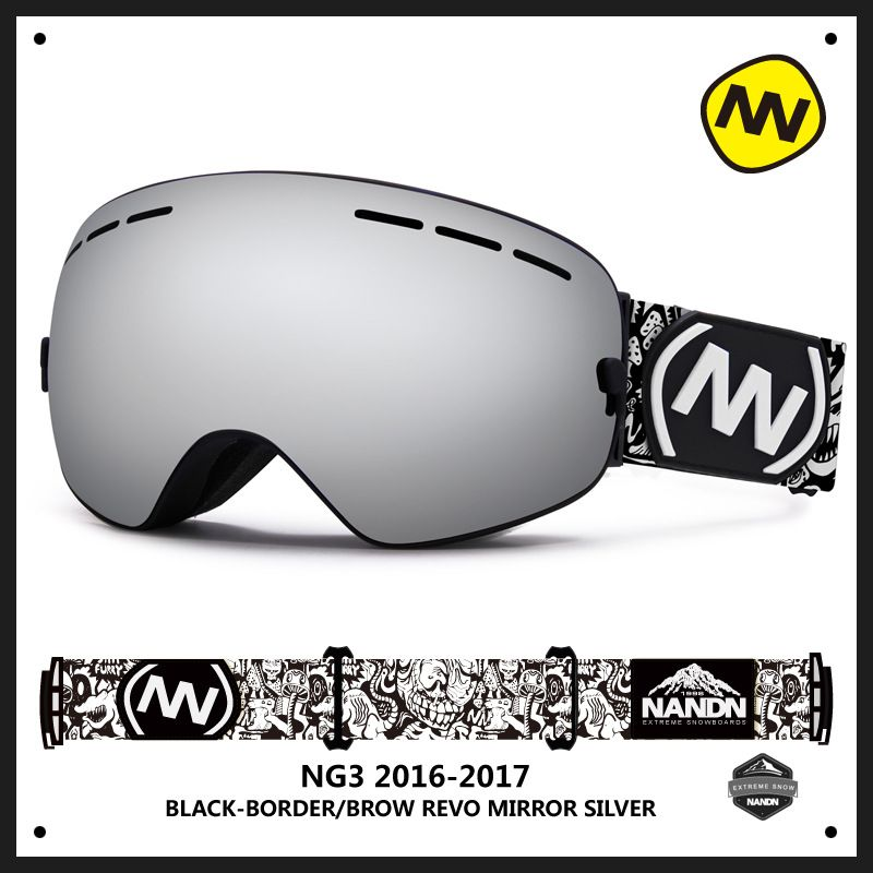 Nandn Mountaining Ski Snowboarding Double Layer Spherical Lens Anti Fog Big Vision Men Women Glasses Can Myopia Glasses Goggle