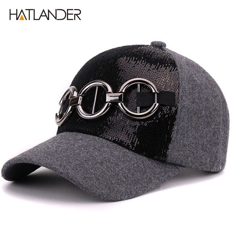 [HATLANDER]Winter thick wool baseball caps for women outdoor warm hats girls solid casquette gorras 5panele curved snapback cap