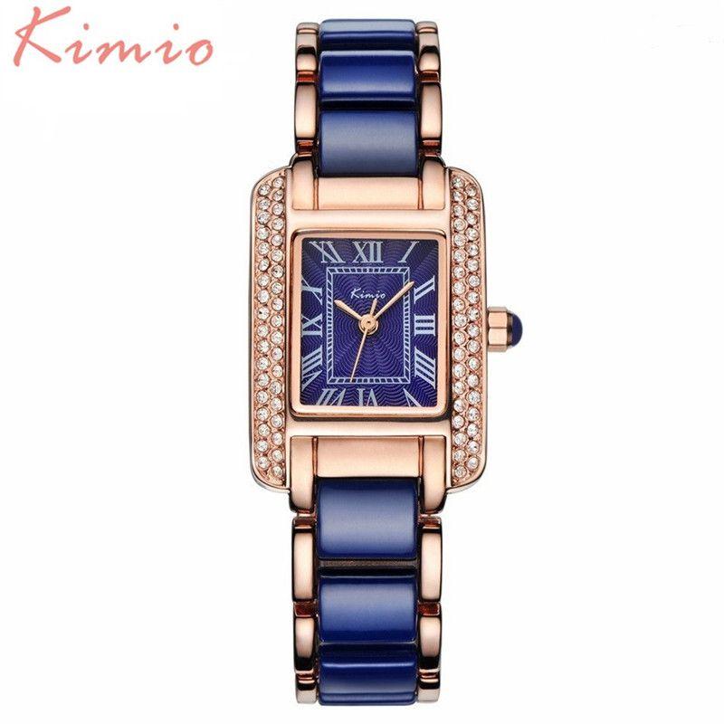 KIMIO самых модных Best качество! Керамика браслет дамы Часы лучший бренд класса люкс из розового золота Женские Часы 6036