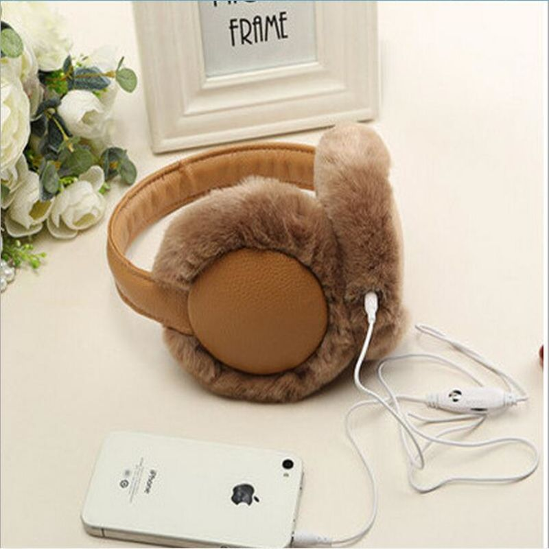 Winter Plush Unisex Earmuffs Music Earphones Ear Warmer Ear Protector Thermal Earmuff Fur Headphones Ear Muff
