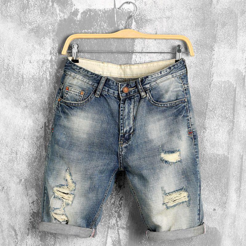 DIMUSI été denim shorts hommes jeans hommes jean shorts bermuda skate board harem hommes survêtement cheville déchiré vague 38 40, PA028