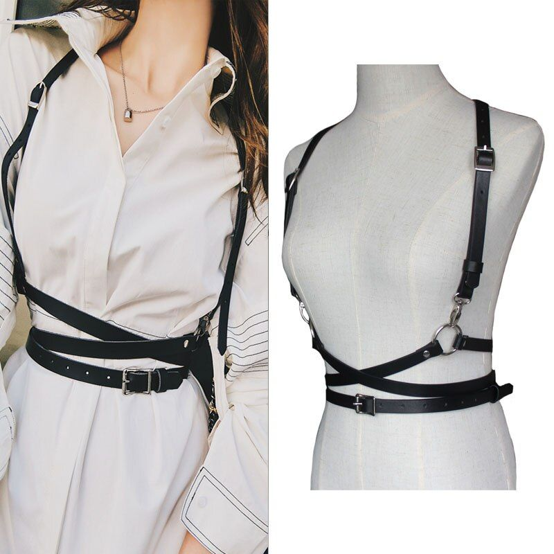 Leather harness sexy women Dark Rock street strap body harness cool collar around neck adjustable buckles waist belts girl