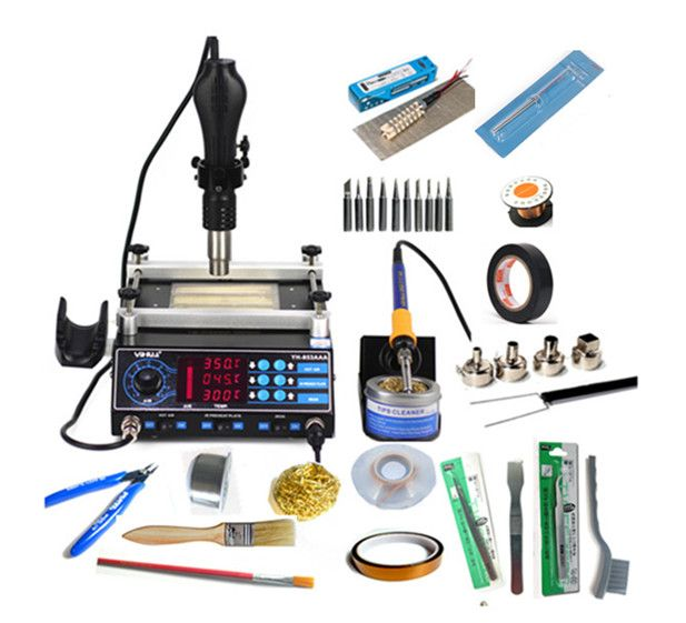 3 Functions in 1 Bga Rework Station 853AAA 650W SMD Hot Air Gun+ 60W Soldering Irons +500W Preheating Station 110V/220V EU/US