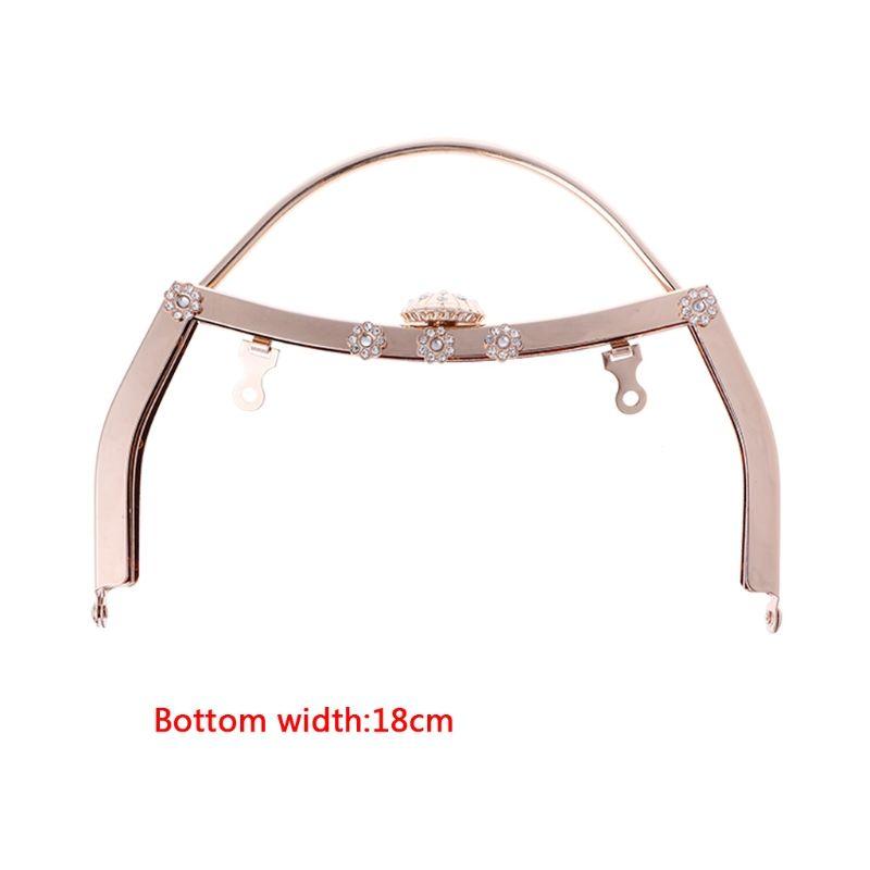 THINKTHENDO 1PC Retro Metal Purse Bag DIY Craft Frame No Hole Clasp Lock Accessories 18cm 3TB00355