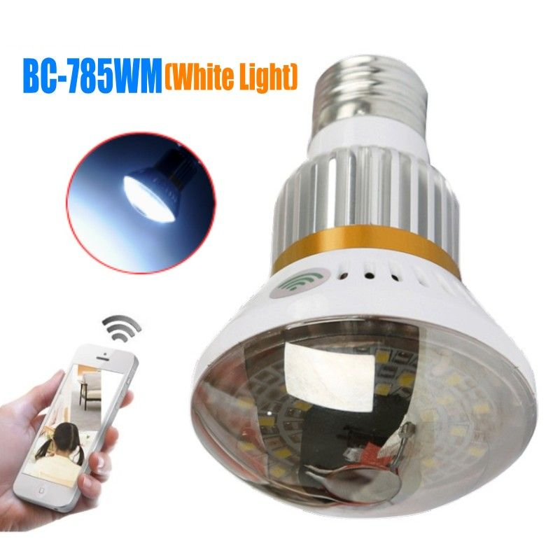 BC-785WM Bulb White Light P2P IP Network DVR Camera HD720P Mobile App Control Home Security Wifi IP Camera with Motion Detection