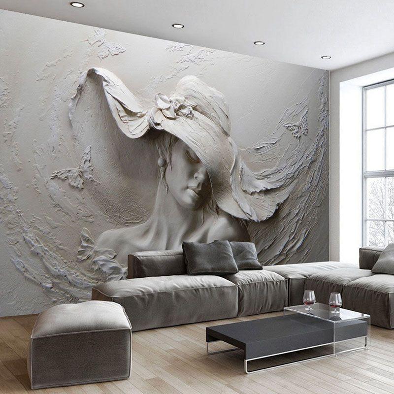 Papier peint personnalisé 3D stéréoscopique en relief gris beauté peinture à l'huile moderne abstraite Art Mural salon chambre papier peint