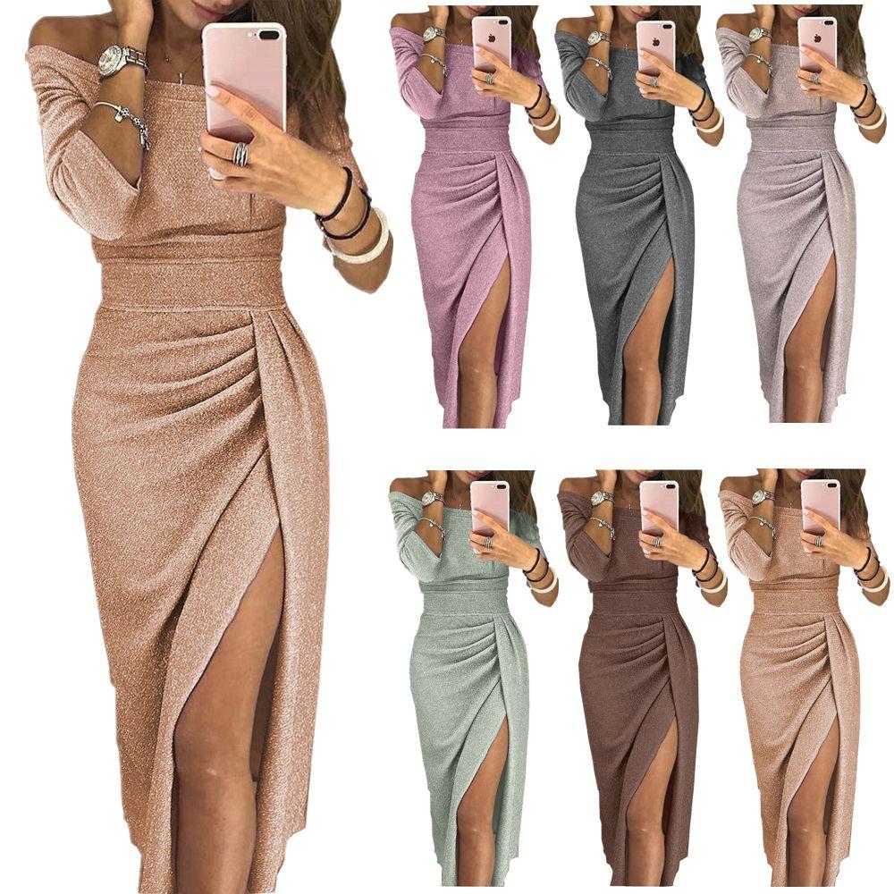 10 Color S-3XL Spring dress women Sexy Club shiny slit push up slash neck party translucent long black red vestidos dress woman