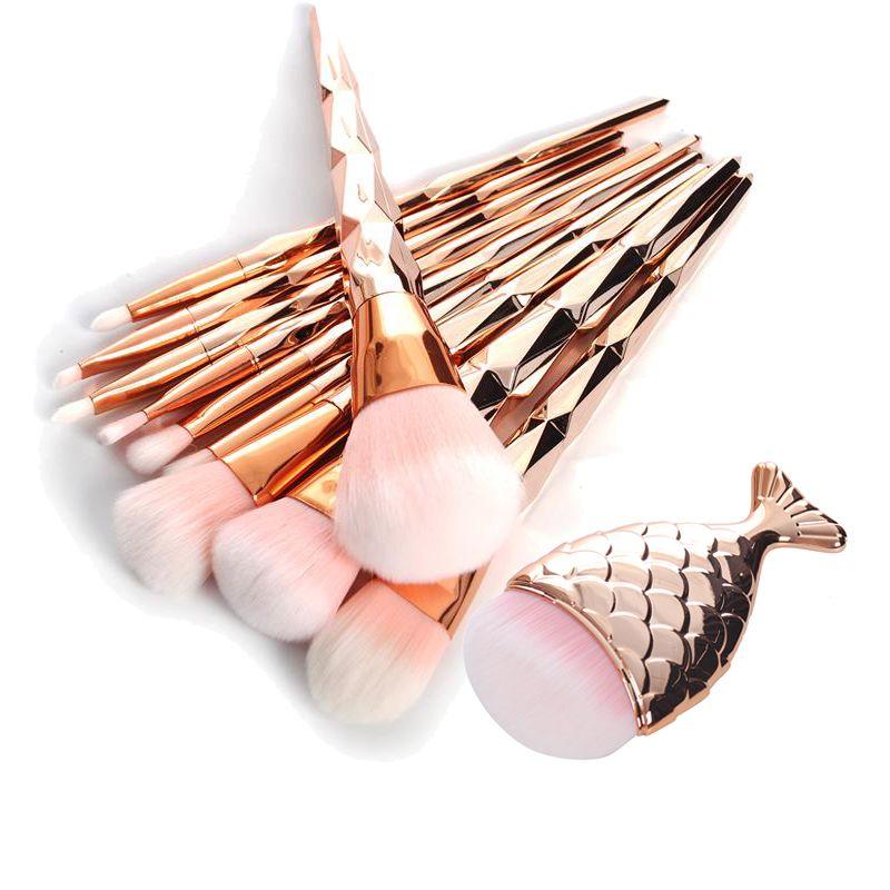 11 Unids Diamante Oro Rosa Pincel de Maquillaje Cepillos Cosméticos En Polvo de Base En Forma de cola de Pez Sirena Arco Iris de Sombra de Ojos Kit de Cepillo