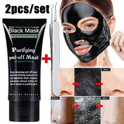 2PCS/Set Face Mask Blackhead Remover Deep Cleansing Purifying Peel Off Acne Black Mud facial Mask Face Care Nose Acne Remover