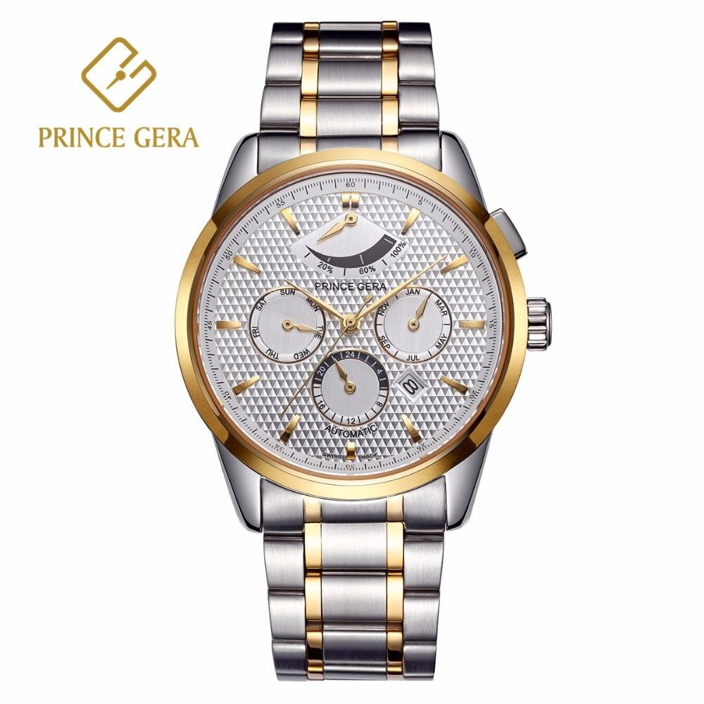 PRINCE GERA Luxury Men's Mechanical Watch Multi-function Dial With Calendar Month Week Display Automatic Men Watch Waterproof