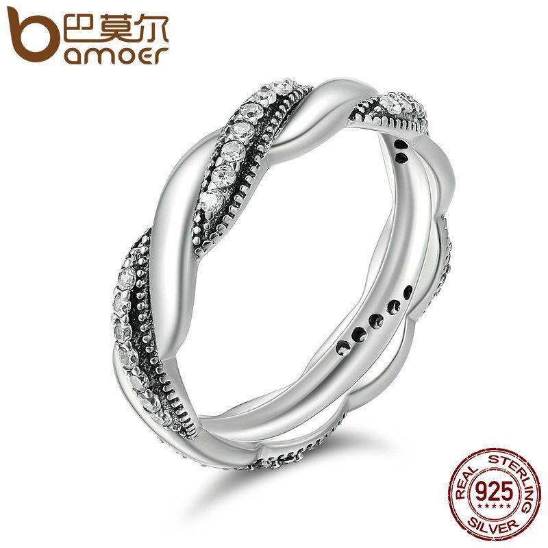 BAMOER Genuine 100% 925 Sterling Silver Twist Ribbon Wrap Wave Sparkling CZ Finger Ring Women Wedding Engagement Jewelry PA7637
