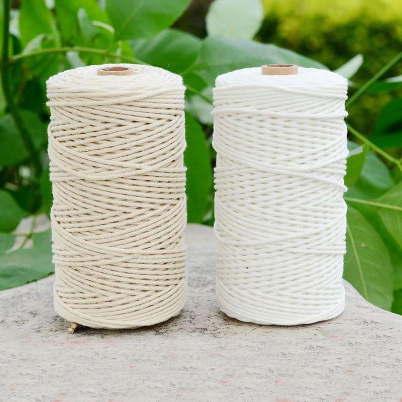Durable 200 m blanc coton cordon naturel Beige torsadé corde artisanat macramé chaîne bricolage à la main maison décorative approvisionnement 3mm