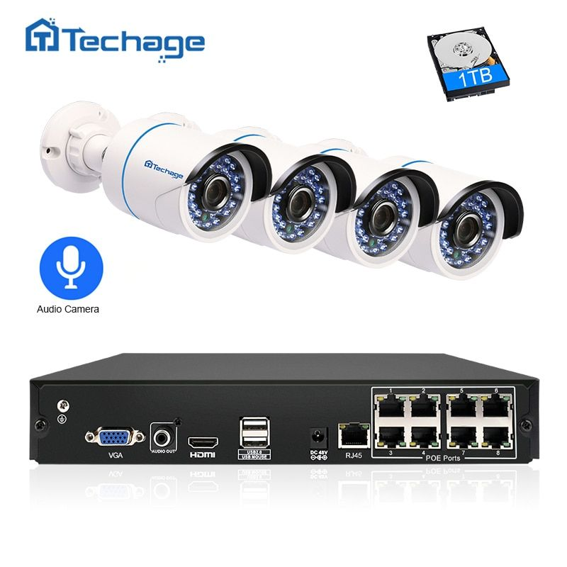 Techage 8CH 1080P POE NVR Kit 2.0MP CCTV Security System 4PCS Audio Record Sound IP Camera P2P Outdoor Video Surveillance System
