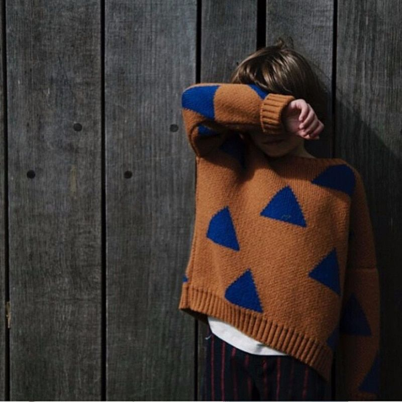 2018 Boys Girls <font><b>Triangle</b></font> Sweater Autumn Casual Bobo Style Children Knitwear Jumper Kids Knitted Clothing Fashion Girls Sweater
