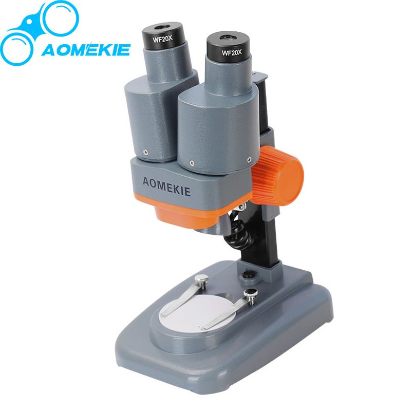 AOMEKIE 40X Binocular Stereo Microscope LED Light PCB Solder Mineral Specimen Watching Kids Science Education Phone Repair Tool