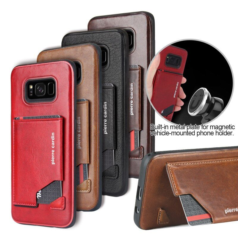 Pierre Cardin Cell Phone Cases For Samsung Galaxy S8 Plus Cover Genuine Leather Case For Samsung Galaxy S8 Back Card Holder Case