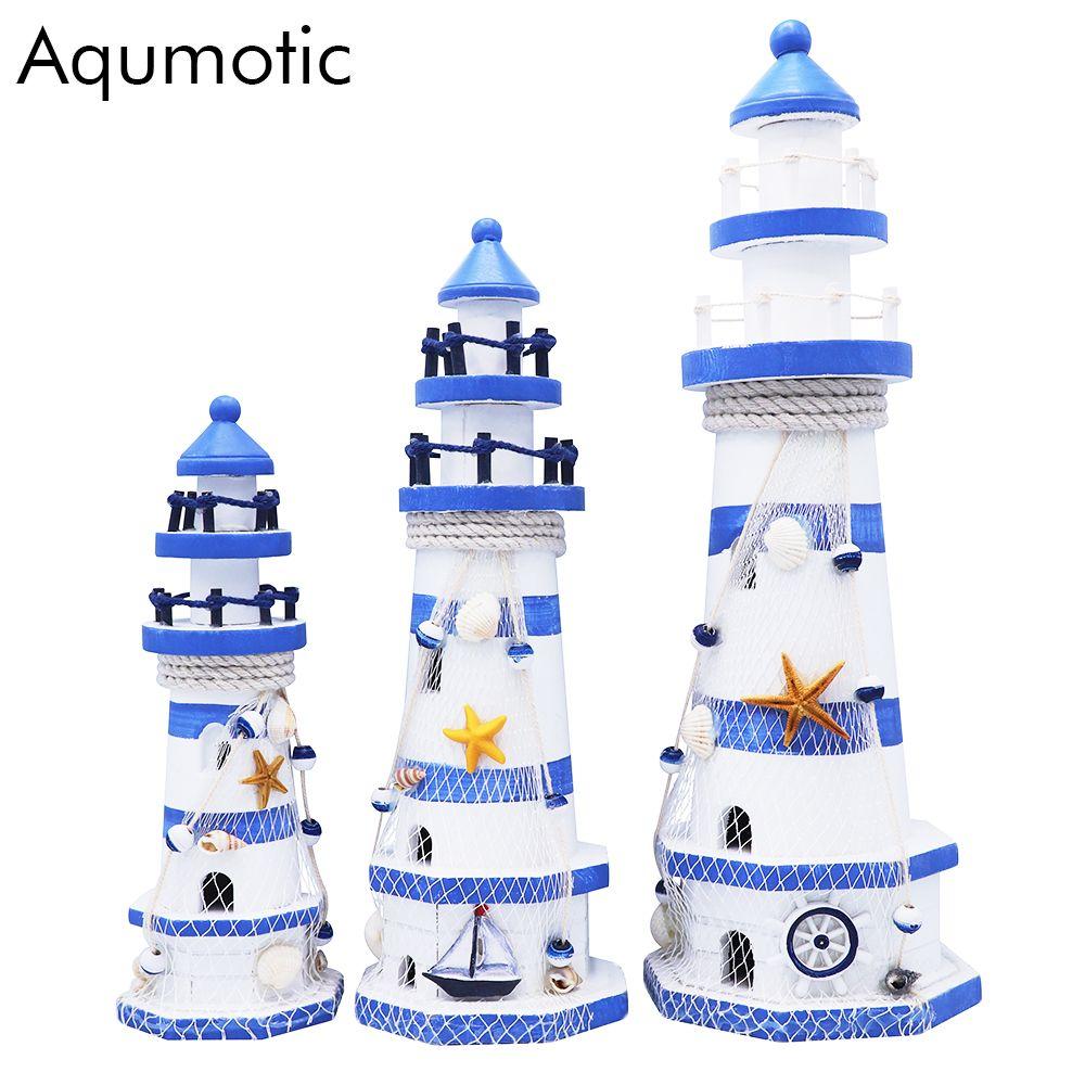 Kit de modèle de phare en bois aqumotique méditerranéen artisanat grand cadeau de vacances modèle de phare pêche filet coquille décoration carton
