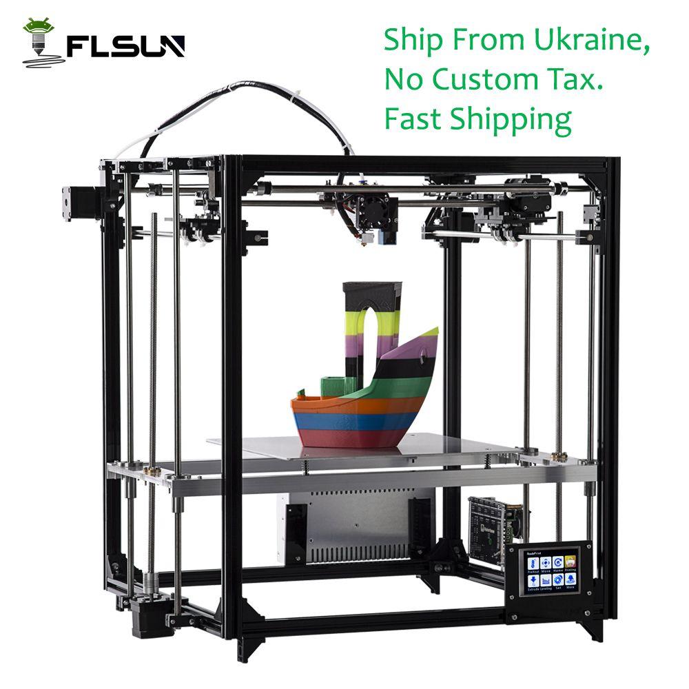 Корабль из Украины flsun 3D-принтеры широкоформатной печати Размеры 260*260*350 мм DIY 3D-принтеры комплект с auto level с подогревом Сенсорный экран