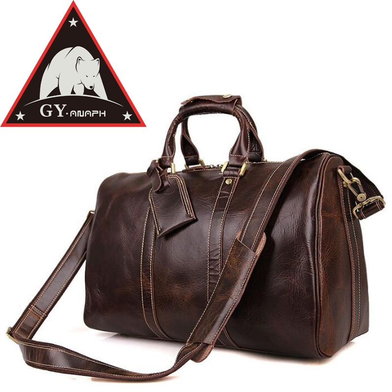 ANAPH Holdall/ Men's Italian Leather Weekender Travel Duffle Bags Fit 17