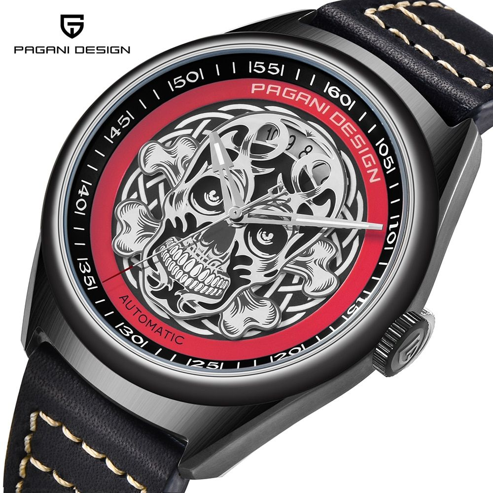 PAGANI DESIGN Men's Classic 3D Skull Punk Style Mechanical Watches Waterproof Genuine Leather Brand Luxury Automatic Watch