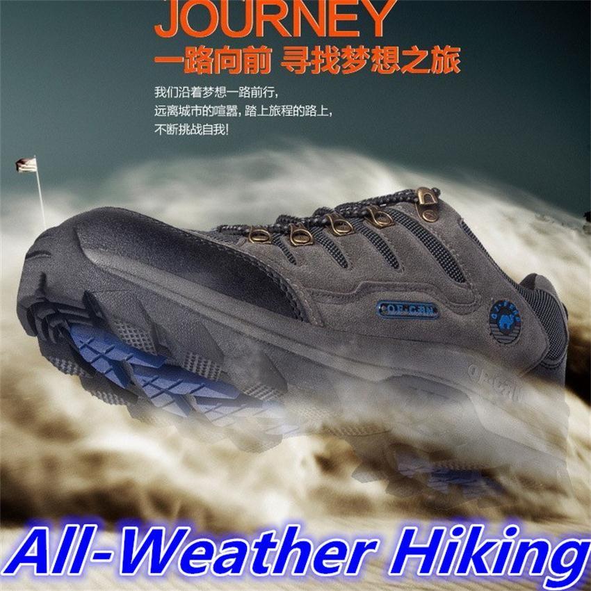 Outdoor wandern sportschuhe männer frauen trekking marke outventure reise jagd atmungsaktives leder schuhe stiefeletten große größe