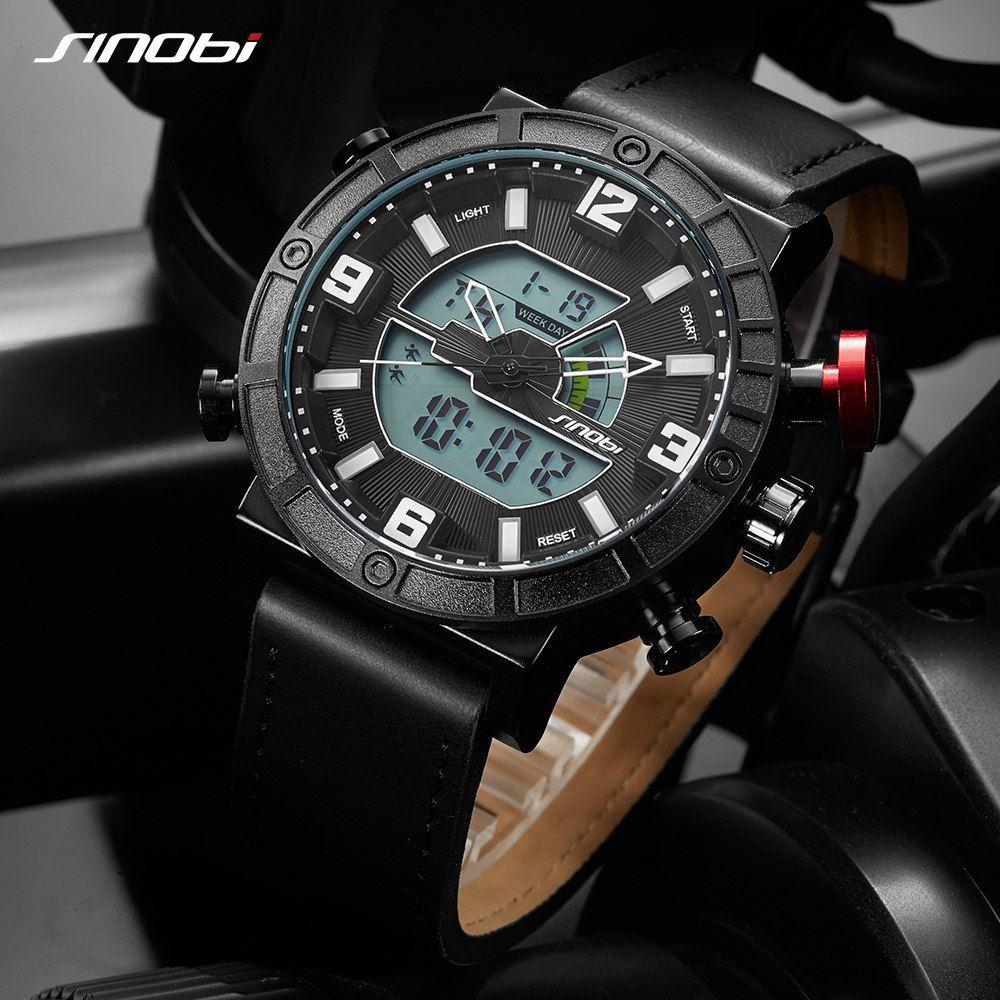 SINOBI Hombres Reloj Del Deporte Exhibición LLEVADA Creativa Reloj Masculino de Cuero Digital TagQuartz Fecha Marca Relogio Del Reloj del Contraluz Masculinizados