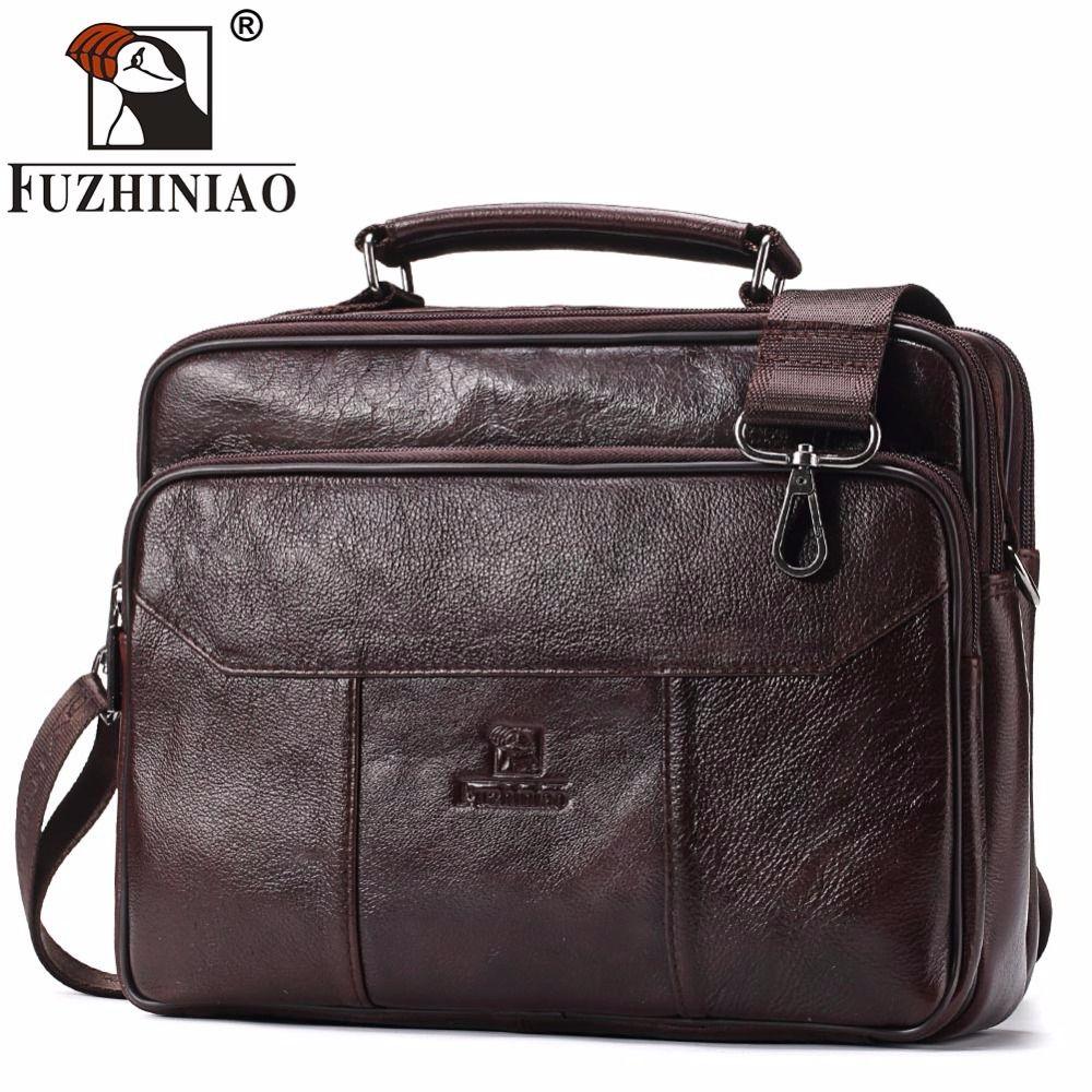 FUZHINIAO Genuine Leather Men Bag Vintage Totes Handbags Brand Fashion Male Messenger Bags Briefcase Men's Travel Shoulder Bags
