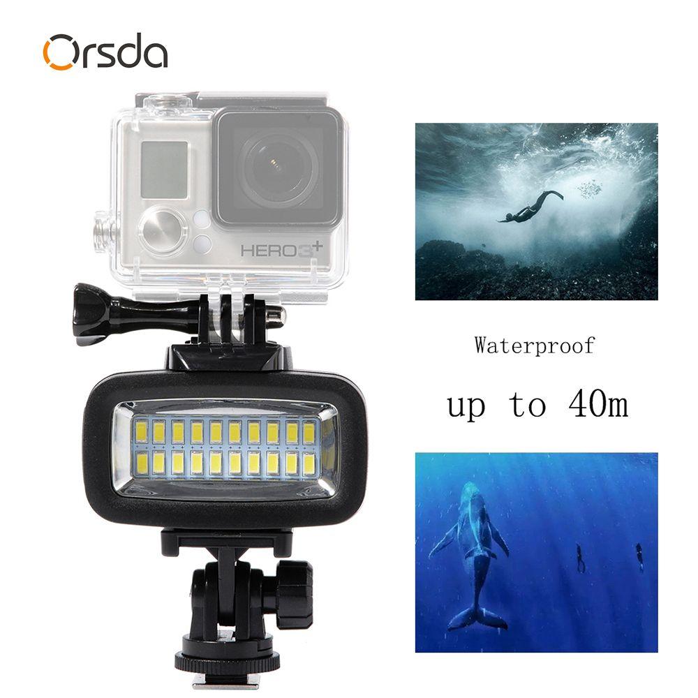 LED 40 m sous-marin étanche lampe Dimmable gopro lumière LED vidéo Flash lumière de remplissage pour SJCAM SJ4000 gopro Xiaomi 700LM SL-100
