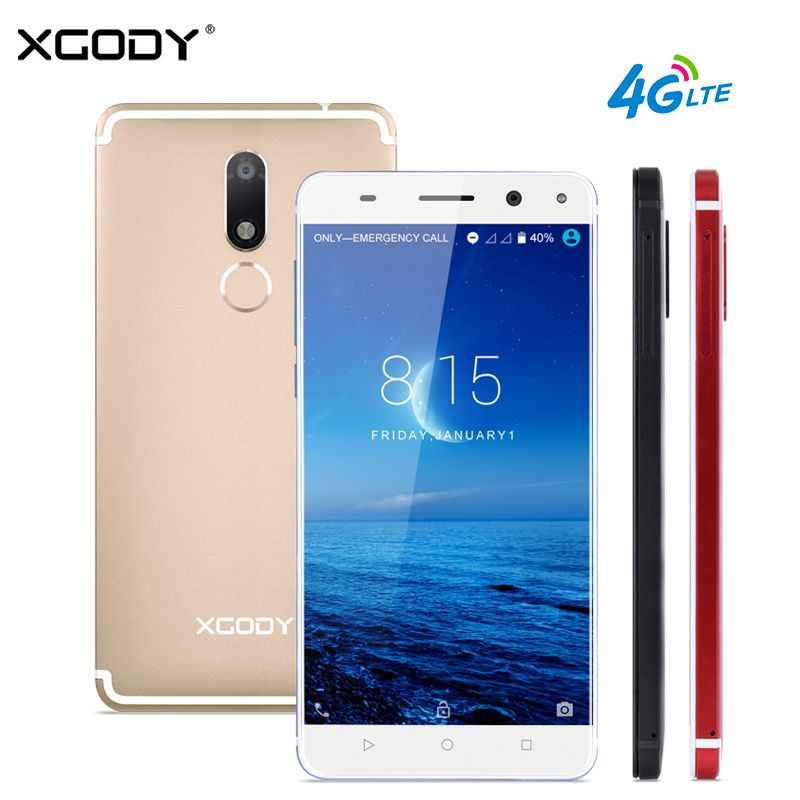 XGODY D22 4G LTE Smartphone 5.5 Inch Fingerprint Quad Core 2GB+16GB Touch Celular Android 7.0 13.0MP Dual SIM Mobile Cell Phones