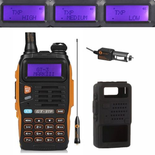 Baofeng GT-3TP MarkIII TP 1/4/8Watt High Power Dual-Band 136-174/400-520MHz Ham Two-way Radio Walkie Talkie Case Car Charger