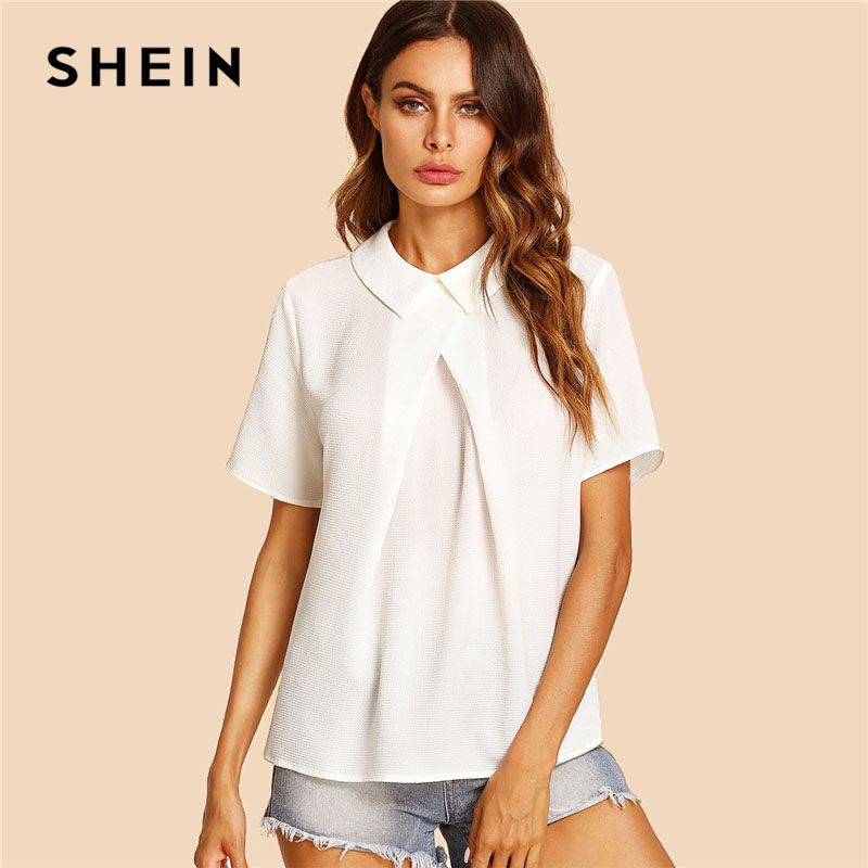 SHEIN White Overlap Fold Plain Top Women Peter Pan Collar Short Sleeve <font><b>Button</b></font> Soild Blouse 2018 Summer Weekend Casual Blouse