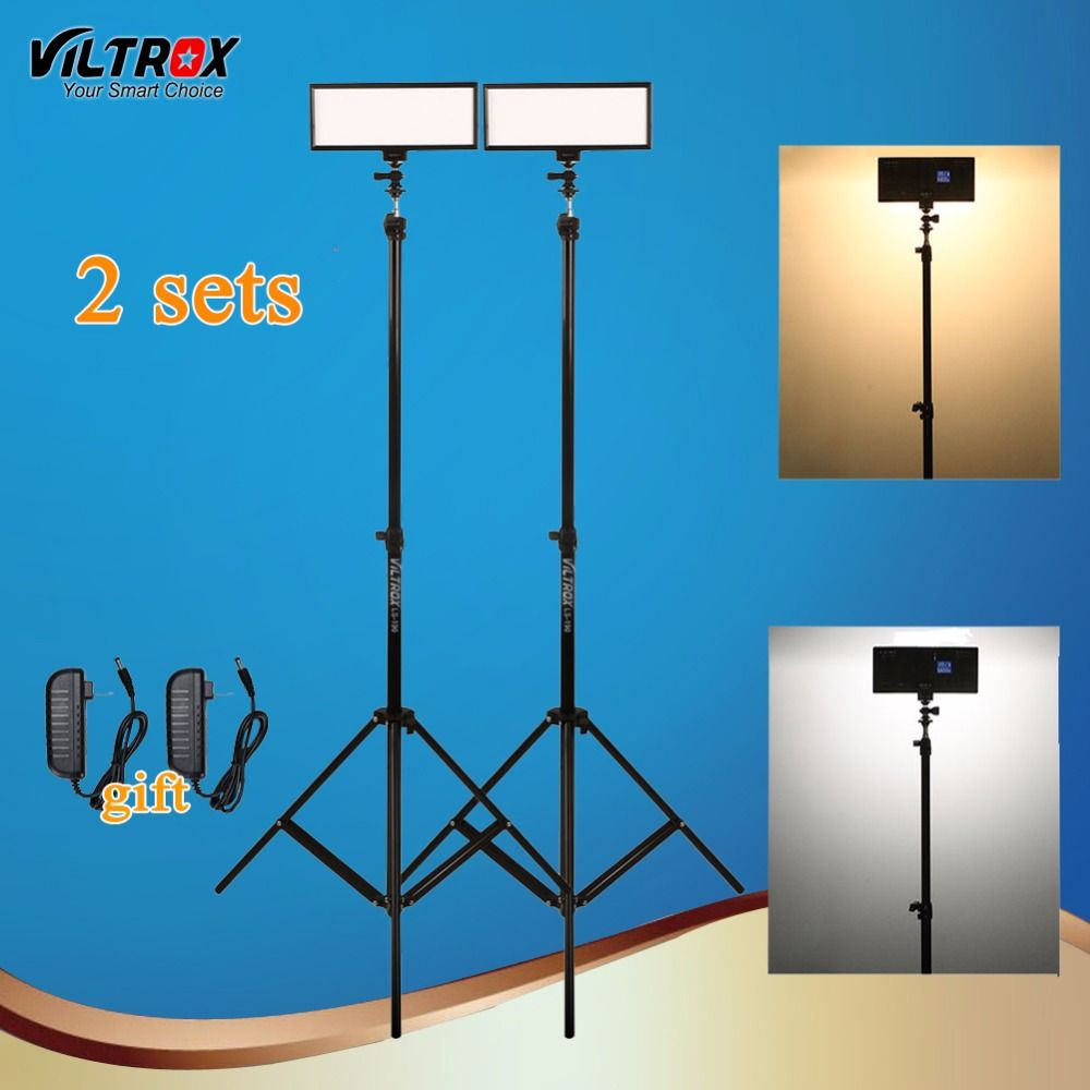 Viltrox L132T LCD Bi-Color Dimmable LED Camera Video Light 2 Sets +2 Light Stand Tripod+AC Adapter for DSLR Studio Lighting Kit