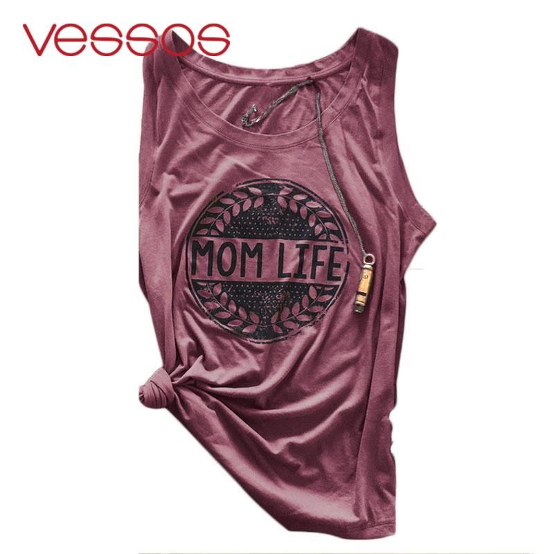 Vessos Summer Soft  sport Tank Light Grey Burgundy Plum Colors Letters Print Sleeveless O Neck Shirt Comfortable Cropped Tops