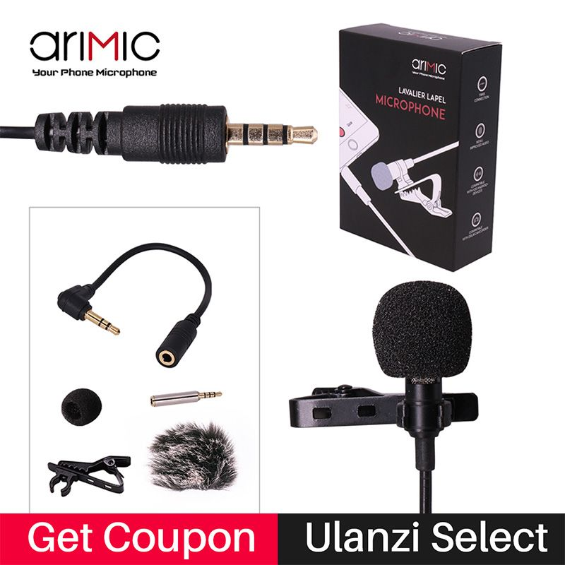Ulanzi Lapel Lavalier Microphone Kit Clip-on Hands-free 3.5mm <font><b>Jack</b></font> Condenser Mic yaka mikrofonu for iPhone for interview Lecture