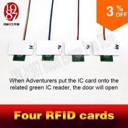 rfid prop room escape adventurer game prop four rfid prop put four ic cards in one to one relationship to unlock with audio