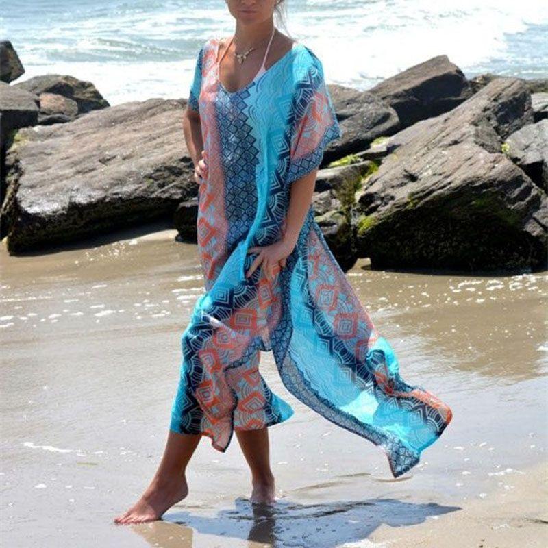 Long imprimé en mousseline De soie Bikini couvrir femmes Bikini couvrir maillots De bain femmes Robe De Plage Cardigan Plage couverture maillot De bain Ups