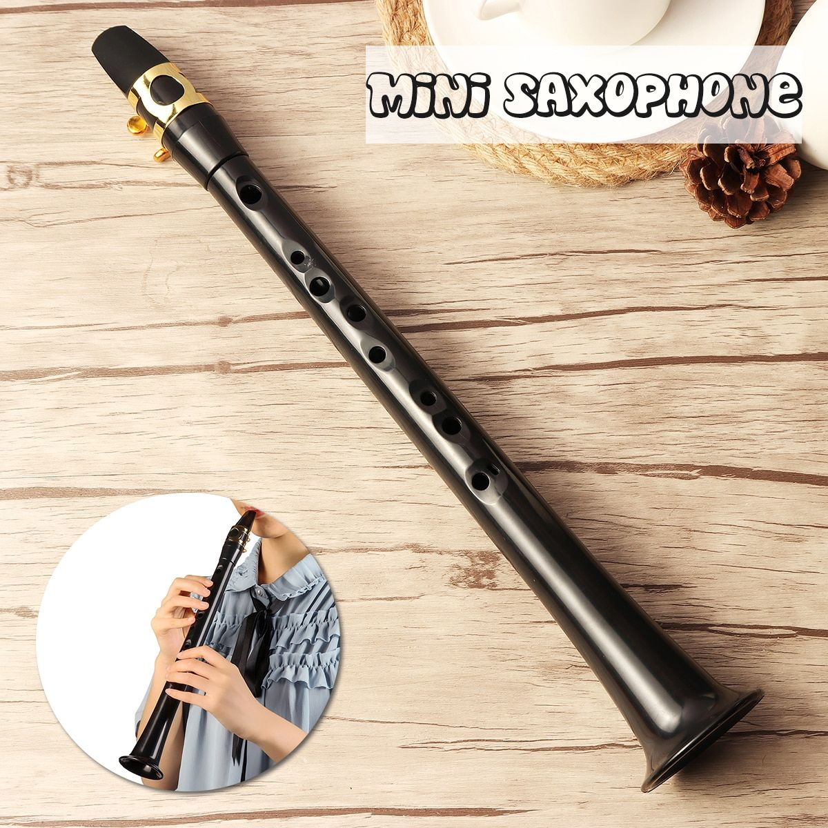 Black LittleSax Mini Sax Portable C Key Saxophone ABS Lightweight Sax Musical Instruments with Carrying Bag for Begginer