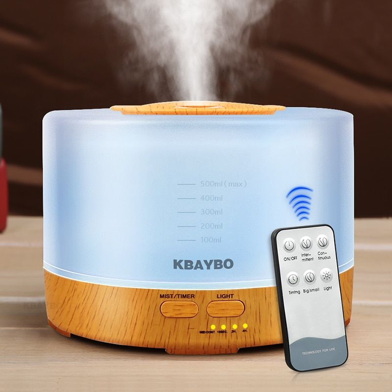 500ml Remote Control Aroma Essential Oil Diffuser Ultrasonic Air Humidifier with 4 Timer Settings 7 Color Changing LED Lamp