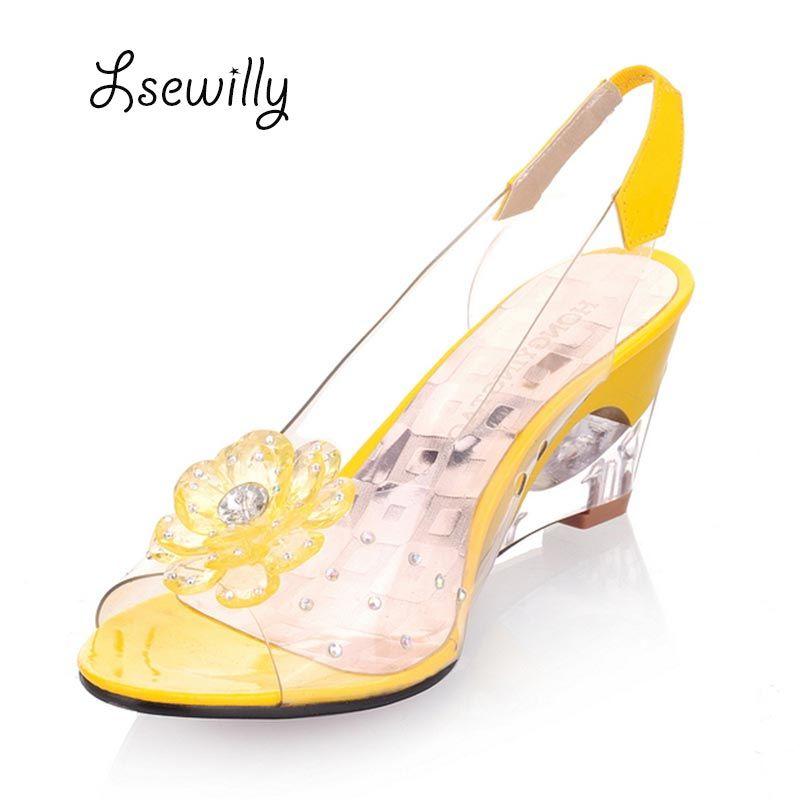 Lsewilly offre spéciale compensées en cristal femmes transparentes sandales à talons hauts grande taille 40-43 strass Peep Toe gelée chaussures AA016